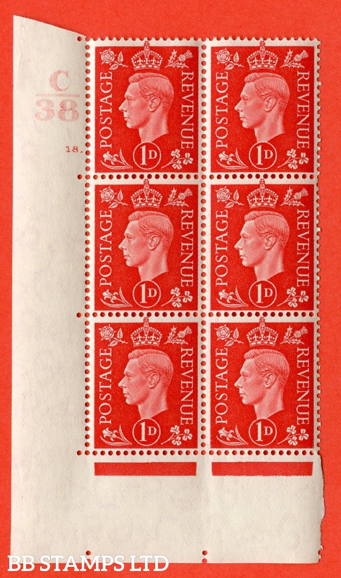 "SG. 463. Q4. 1d Scarlet. A superb UNMOUNTED MINT "" Control C38 cylinder 18 dot "" block of 6 with perf type 5 E/I with marginal rule."
