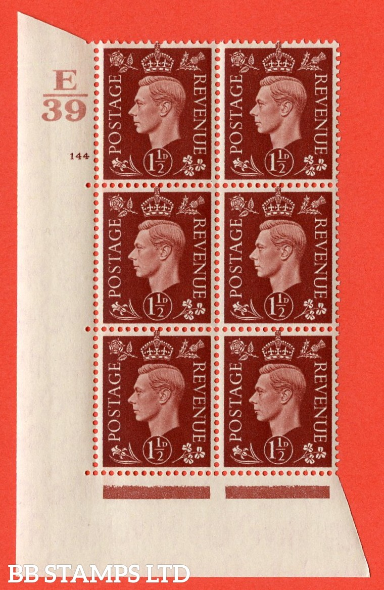"SG. 464. Q7. 1½d Red-Brown. A superb UNMOUNTED MINT "" Control E39 cylinder 144 no dot "" control block of 6 with perf type 5 E/I. with marginal rule."