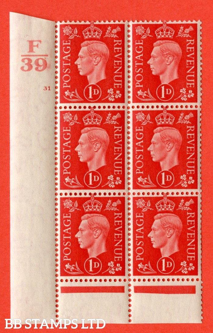 "SG. 463. Q4. 1d Scarlet. A superb UNMOUNTED MINT "" Control F39 cylinder 31 no dot "" block of 6 with perf type 6 I/P with marginal rule."