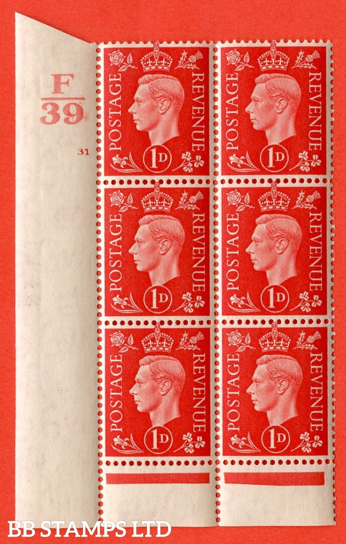 """SG. 463. Q4. 1d Scarlet. A superb UNMOUNTED MINT """" Control B37 cylinder 31 no dot """" block of 6 with perf type 6 I/P with marginal rule."""