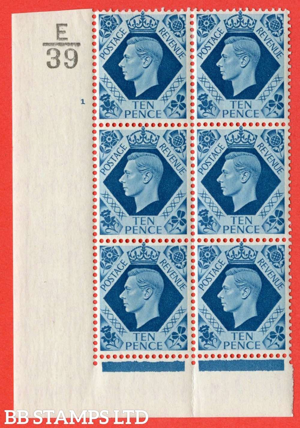 "SG. 474. Q26. 10d Turquoise-Blue. A fine mounted mint "" Control  E39 cylinder 1 no dot "" control block of 6 with perf type 2 I/E."