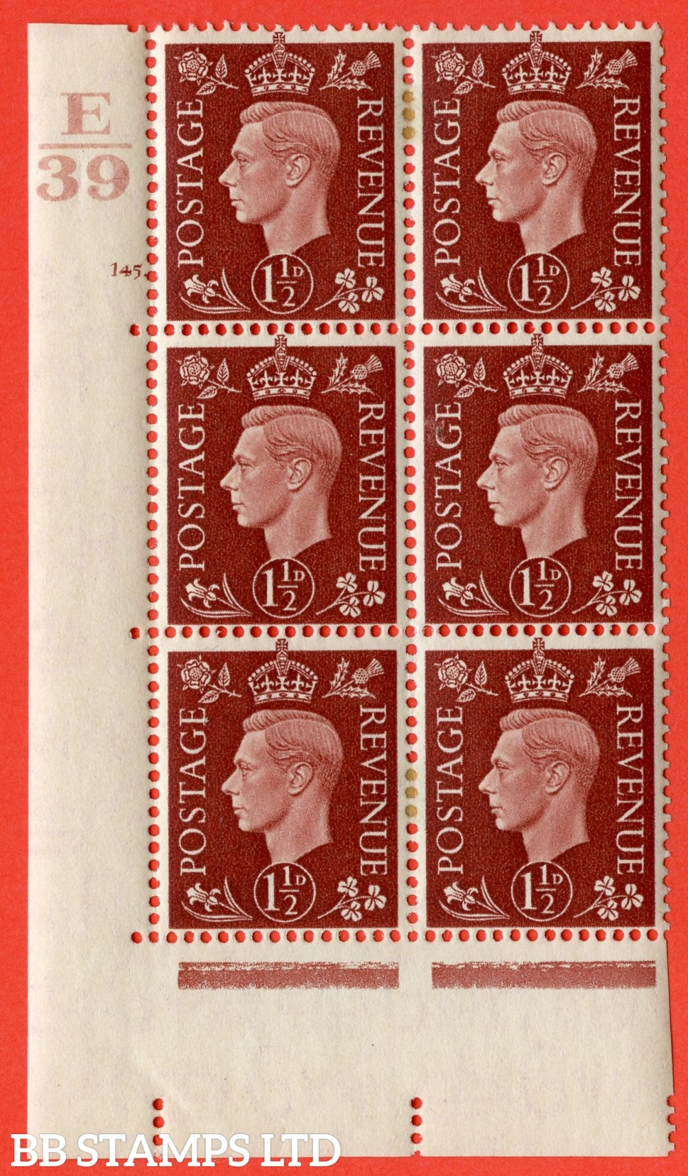 "SG. 464. Q7. 1½d Red-Brown. A very fine mounted mint "" Control E39 cylinder 145 dot "" control block of 6 with perf type 5 E/I. with marginal rule."