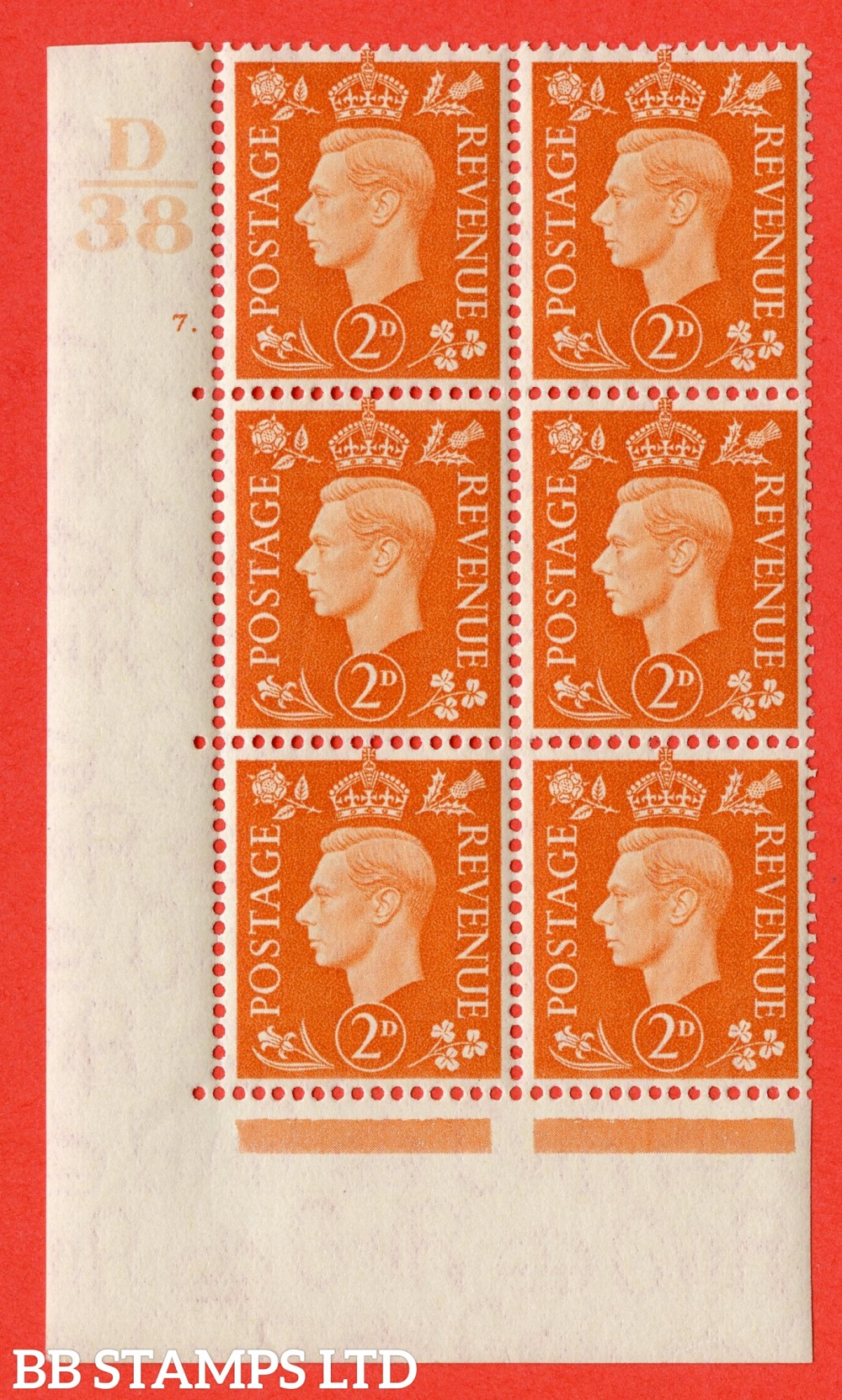 "SG. 465. Q10. 2d Orange. A superb UNMOUNTED MINT "" Control D38 cylinder 7 dot "" control block of 6 with perf type 5 E/I."