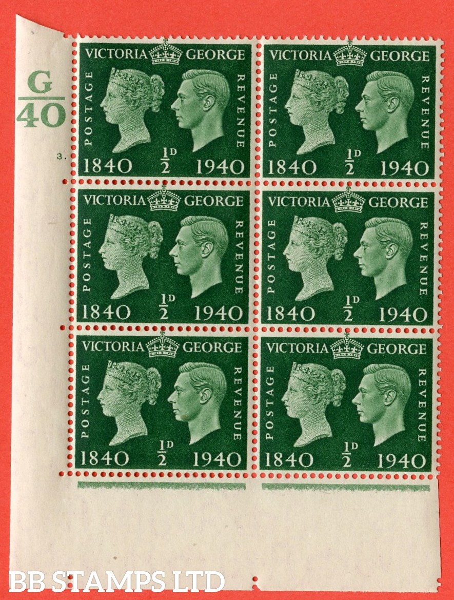 """SG. 479. QCom2. ½d Green. A Superb UNMOUNTED MINT """" Control G40 cylinder 3 dot """" block of 6 with perf type 5 E/I"""