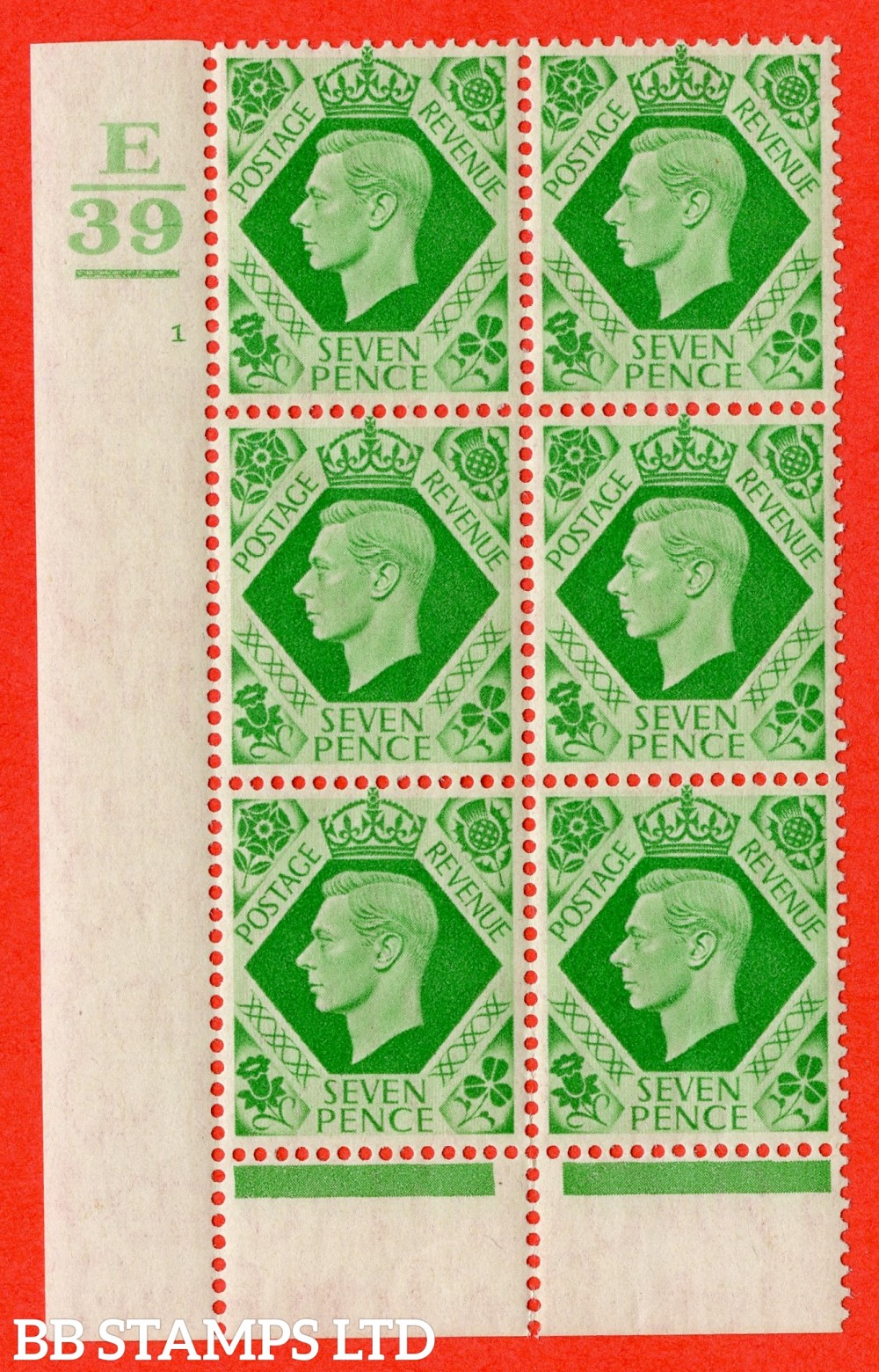 """SG. 471. Q23. 7d Emerald-Green. A fine lightly mounted mint """" Control E39 Bar Bottom cylinder 1 no dot """" control block of 6 with perf type 6 I/P"""