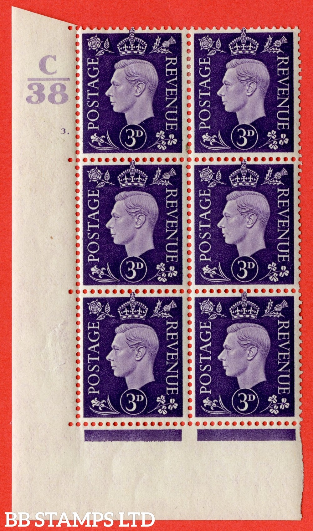 """SG. 467. Q16. 3d Violet. A fine lightly mounted mint """" Control C38 cylinder 3  dot """" control block of 6 with perf type 5 E/I."""