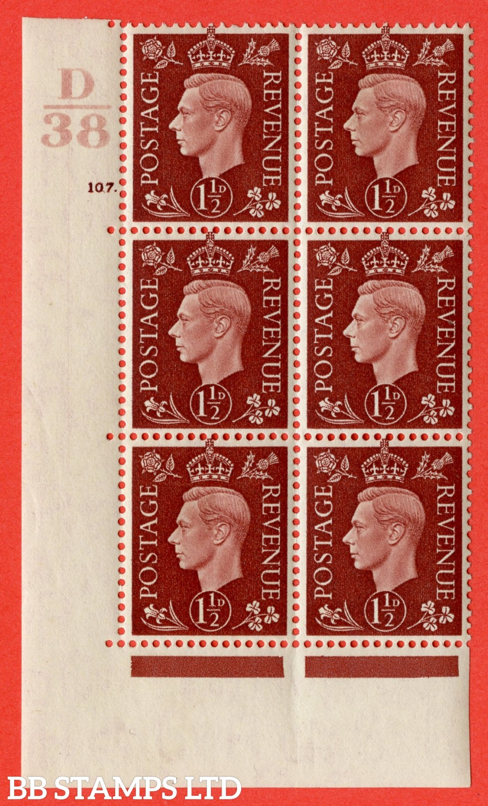 """SG. 464. Q7. 1½d Red-Brown. A fine lightly mounted mint """" Control D38 cylinder 107 dot """" control block of 6 with perf type 5 E/I. with marginal rule."""