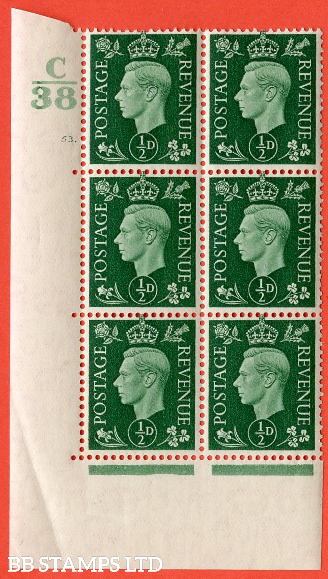 """SG. 462. Q1. ½d Green. A superb UNMOUNTED MINT """" Control C38 cylinder 53 dot """" block of 6 with perf type 5 E/I with marginal rule. Small crease in bottom margin."""