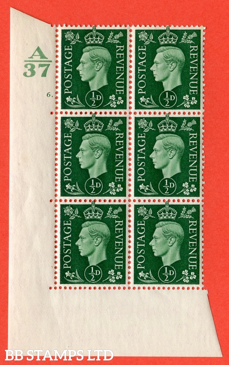 "SG. 462. Q1. ½d Green. A superb UNMOUNTED MINT"" Control A37 cylinder 6 dot "" block of 6 with perf type 5 E/I without marginal rule."