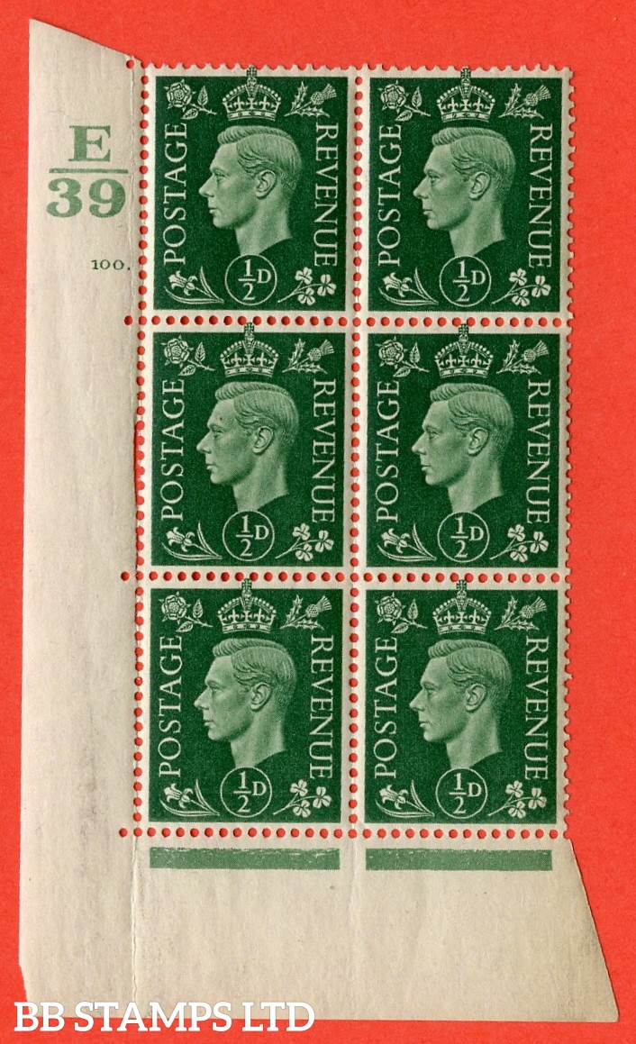 "SG. 462. Q1. ½d Green. A superb UNMOUNTED MINT"" Control E39 cylinder 100 dot "" block of 6 with perf type 5 E/I with marginal rule."