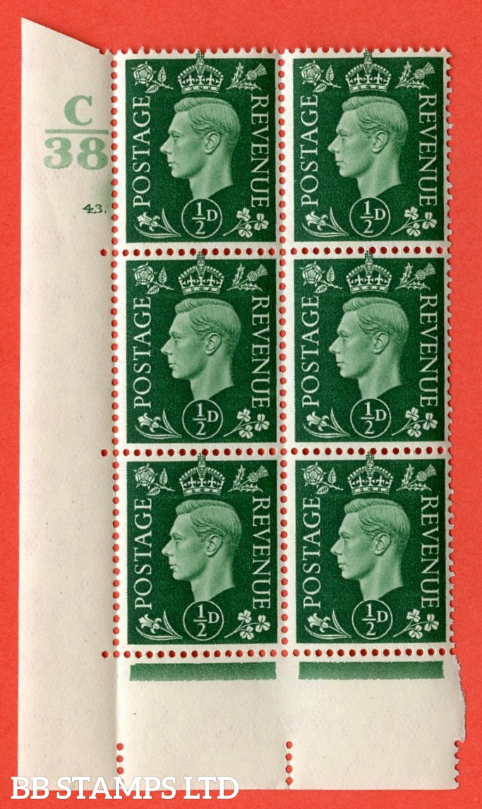 "SG. 462. Q1. ½d Green. A superb UNMOUNTED MINT "" Control C38 cylinder 43 (ii) dot "" block of 6 with perf type 5 E/I with marginal rule."