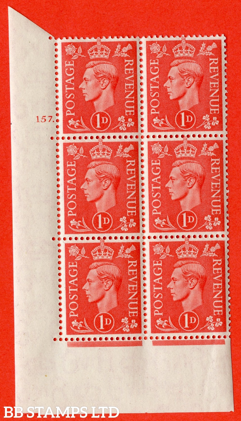"SG. 486. Q5. 1d Pale scarlet. A superb UNMOUNTED MINT ""  No Control cylinder 157 dot "" control block of 6 with perf type 5 E/I."