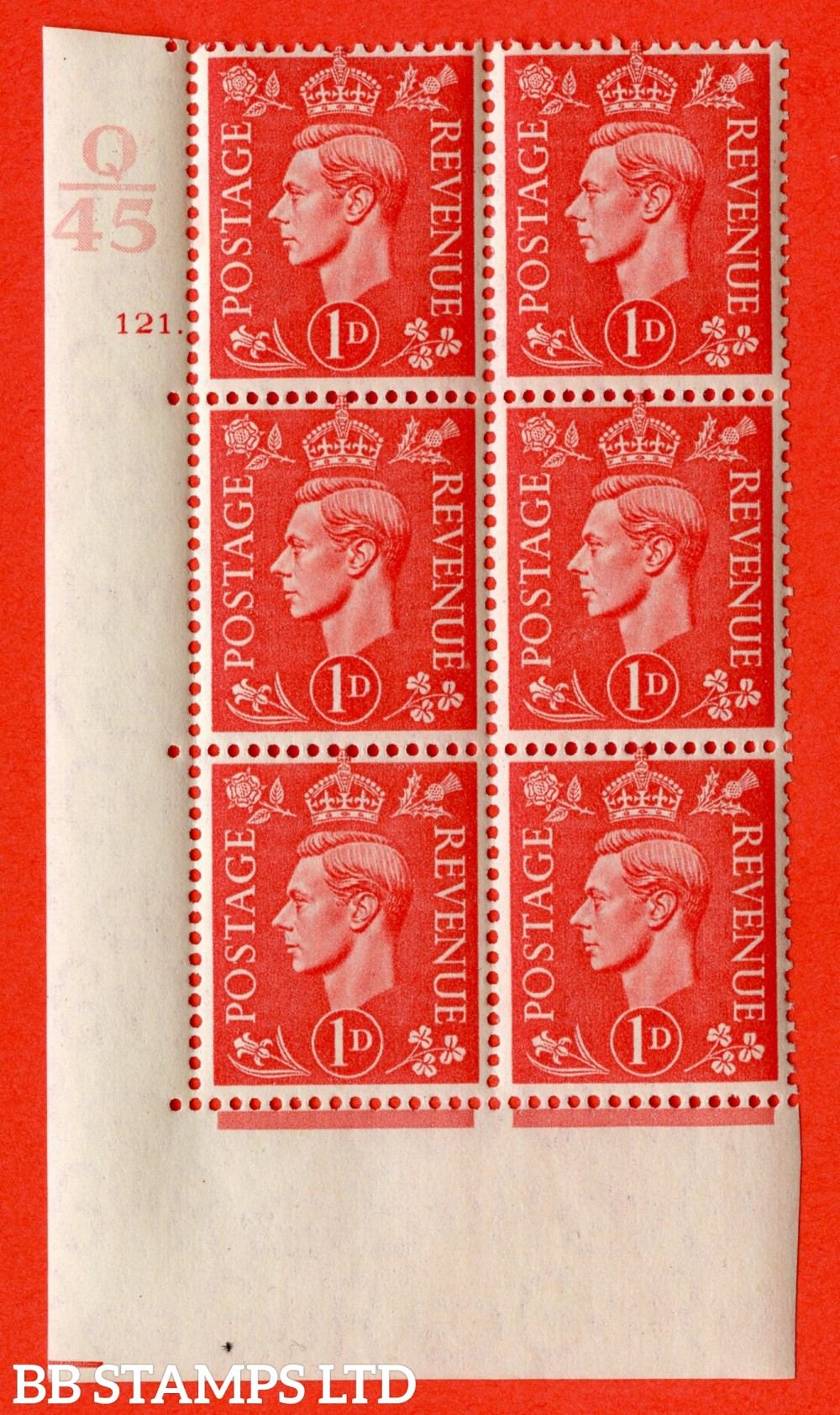 "SG. 486. Q5. 1d Pale scarlet. A fine lightly mounted mint "" Control Q45 cylinder 121 dot "" control block of 6 with perf type 5 E/I."