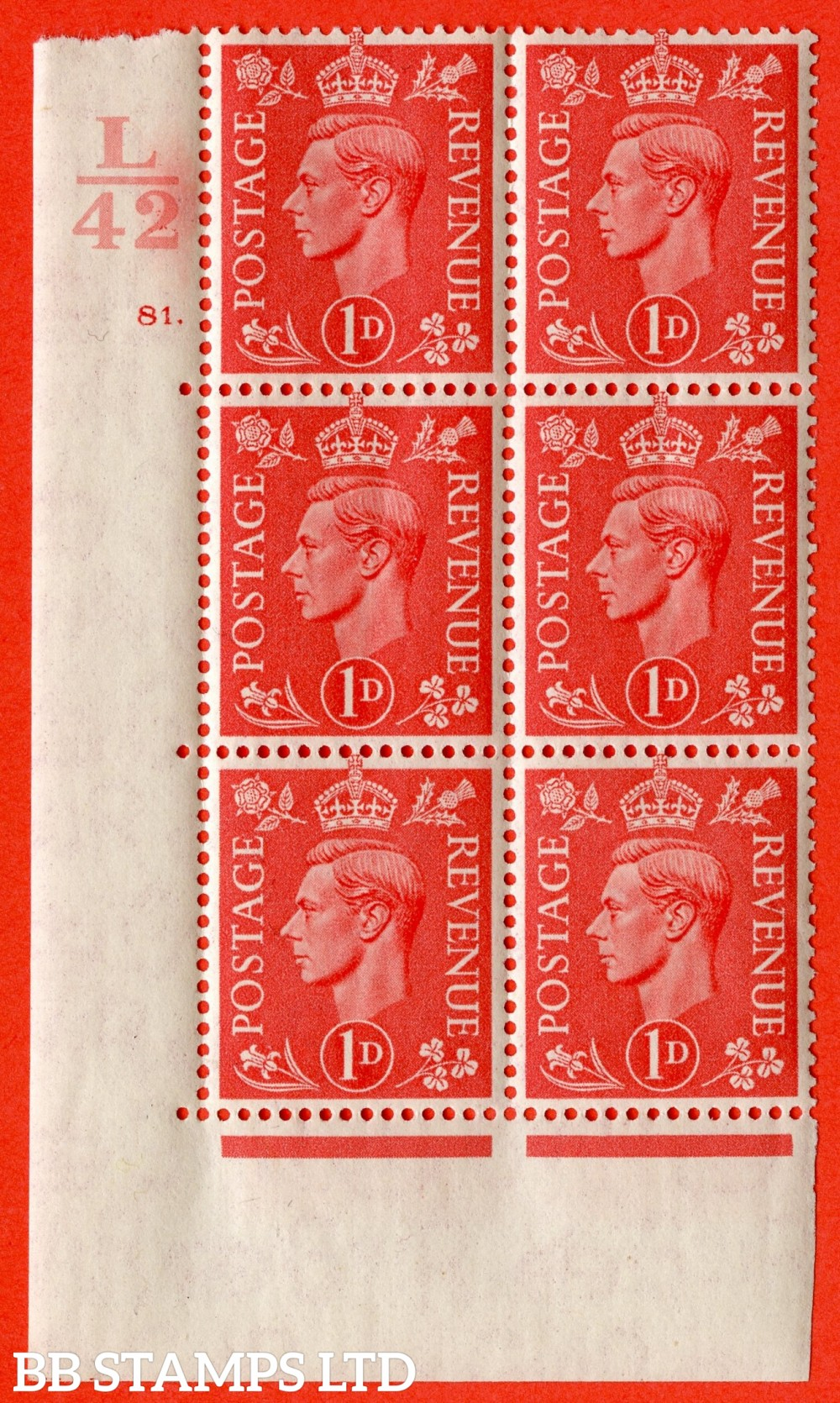 "SG. 486. Q5. 1d Pale scarlet. A fine lightly mounted mint "" Control L42 cylinder 81 dot "" control block of 6 with perf type 5 E/I."