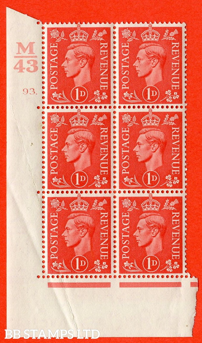 "SG. 486. Q5. 1d Pale scarlet. A very fine lightly mounted mint ""  Control M43 cylinder 93 dot "" control block of 6 with perf type 5 E/I. Creased."