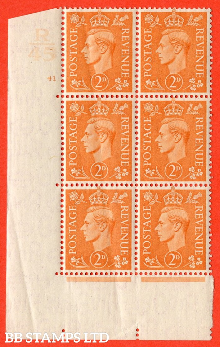 "SG. 488. Q11. 2d Pale Orange. A very fine lightly mounted mint. "" Control R45 cylinder 41 no dot "" control block of 6 with perf type 5 E/I. Creased"
