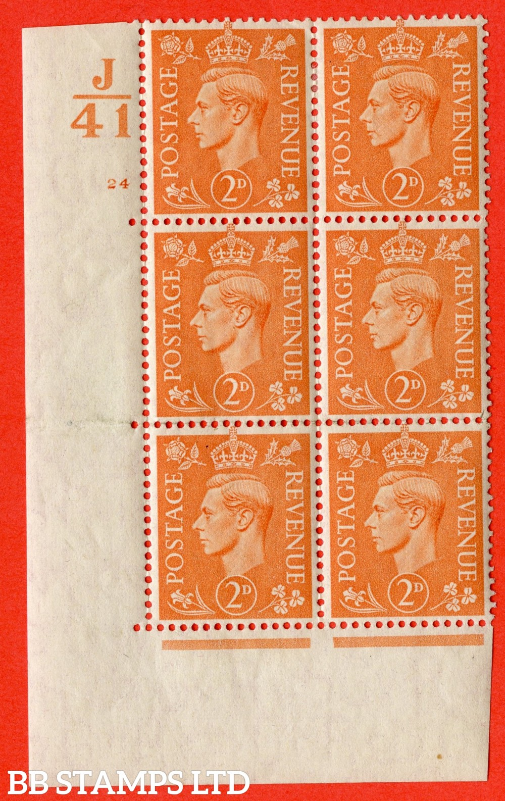 "SG. 488. Q11. 2d Pale Orange. A fine lightly mounted mint. "" Control J41 cylinder 24 no dot "" control block of 6 with perf type 5 E/I."