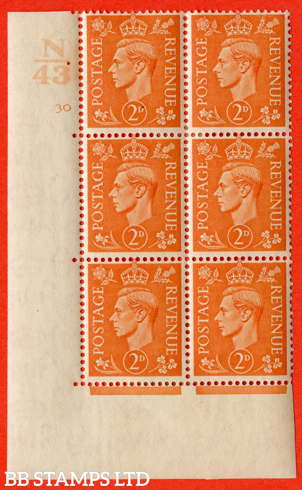 "SG. 488. Q11. 2d Pale Orange. A fine ligthtly mounted mint "" Control N43 cylinder 30 no dot "" control block of 6 with perf type 5 E/I."