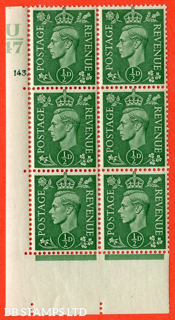 "SG. 485. Q2. ½d Pale Green. A very fine lightly mounted mint "" Control U47 cylinder 143 dot "" block of 6 with perf type 5 E/I with marginal rule."