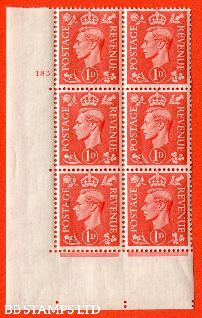 "SG. 486. Q5A. 1d Pale scarlet. A superb UNMOUNTED MINT "" No Control  cylinder 183 no dot "" control block of 6 with perf type 5 E/I."