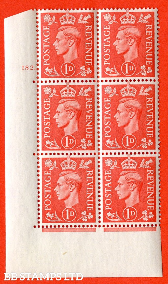 "SG. 486. Q5A. 1d Pale scarlet. A superb UNMOUNTED MINT "" No Control  cylinder 182 dot "" control block of 6 with perf type 5 E/I."