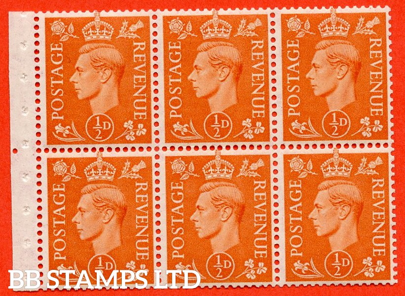 "SG. 503. QB7. ½d orange. A fine UNMOUNTED MINT complete booklet pane of 6 with selvedge. Perf type "" Ie ""."