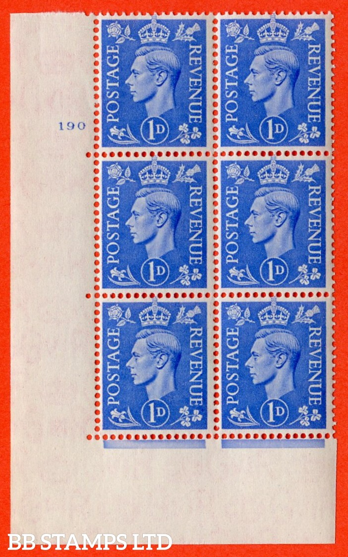 """SG. 504. Q6. 1d Light ultramarine. A superb UNMOUNTED MINT """" No Control cylinder 190 no dot """" control block of 6 with perf type 5 E/I."""