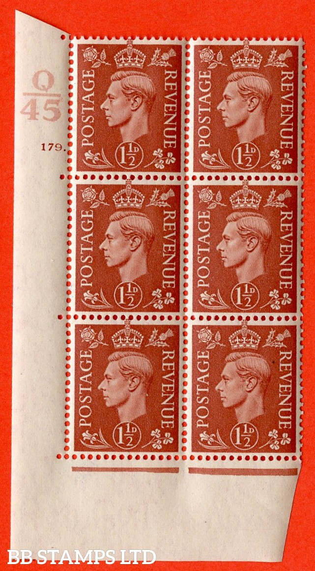 "SG. 487. Q8. 1½d Pale Red-Brown. A superb UNMOUNTED MINT "" Control Q45 cylinder 179 dot "" control block of 6 with perf type 5 E/I."