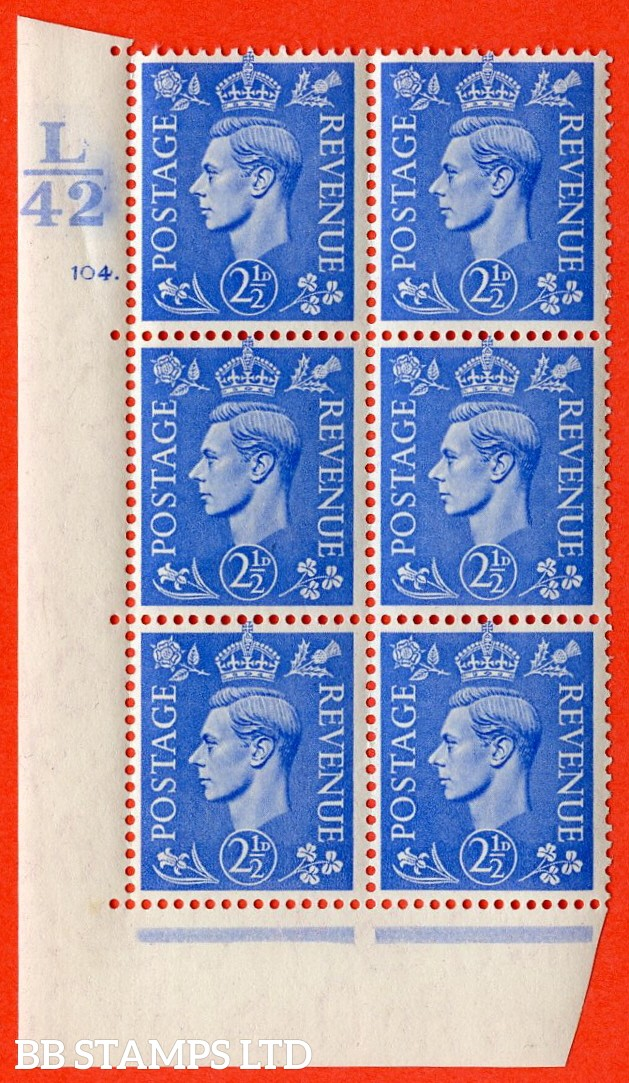 "SG. 489. Q14. 2½d Light ultramarine. A superb UNMOUNTED MINT ""  Control L42 cylinder 104 dot "" control block of 6 with perf type 5 E/I."