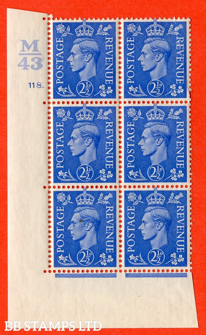 "SG. 489. Q14. 2½d Light ultramarine. A superb UNMOUNTED MINT ""  Control M43 cylinder 118 dot "" control block of 6 with perf type 5 E/I. Creased."