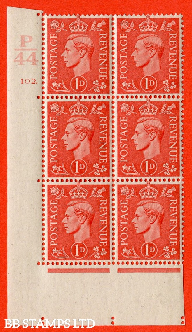 "SG. 486. Q5. 1d Pale scarlet. A fine lightly mounted mint "" Control R45 cylinder 102 dot "" control block of 6 with perf type 5 E/I."