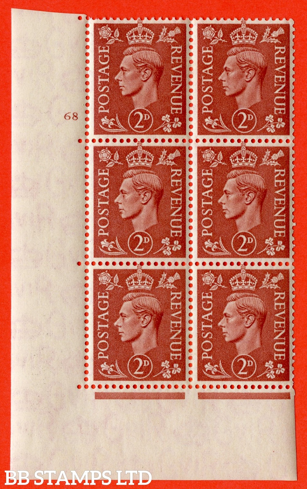 "SG. 506. Q12. 2d Pale Red-Brown. A fine lightly mounted mint "" No Control cylinder 68 no dot "" control block of 6 with perf type 5 E/I."