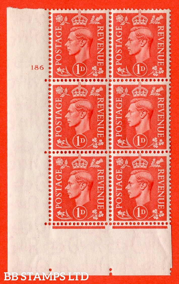 "SG. 486. Q5. 1d Pale scarlet. A very fine lightly mounted mint ""  Control N43 cylinder 186 no dot "" control block of 6 with perf type 5 E/I. Crease in margin."