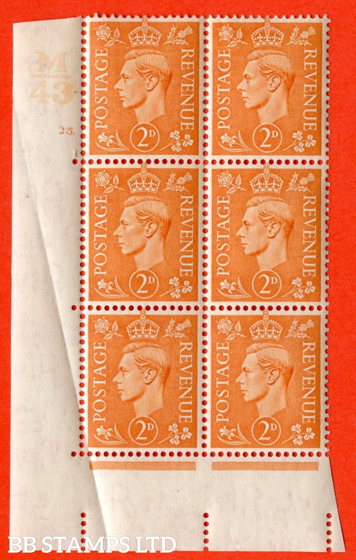 "SG. 488. Q11. 2d Pale Orange. A very fine lightly mounted mint. "" Control M43 cylinder 25 no dot "" control block of 6 with perf type 5 E/I. Crease in margin."