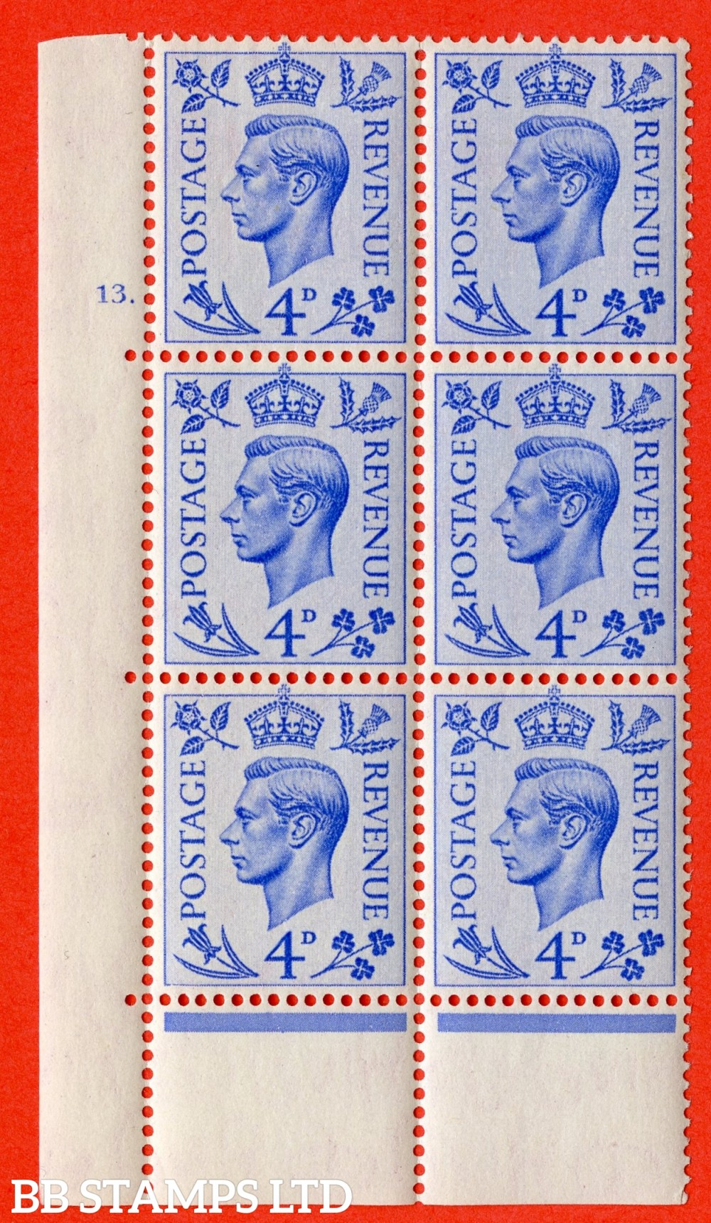 "SG. 508. Q20. 4d Light ultramarine. A fine mounted mint "" No Control cylinder 13 dot "" control block of 6 with perf type 6B E/P."