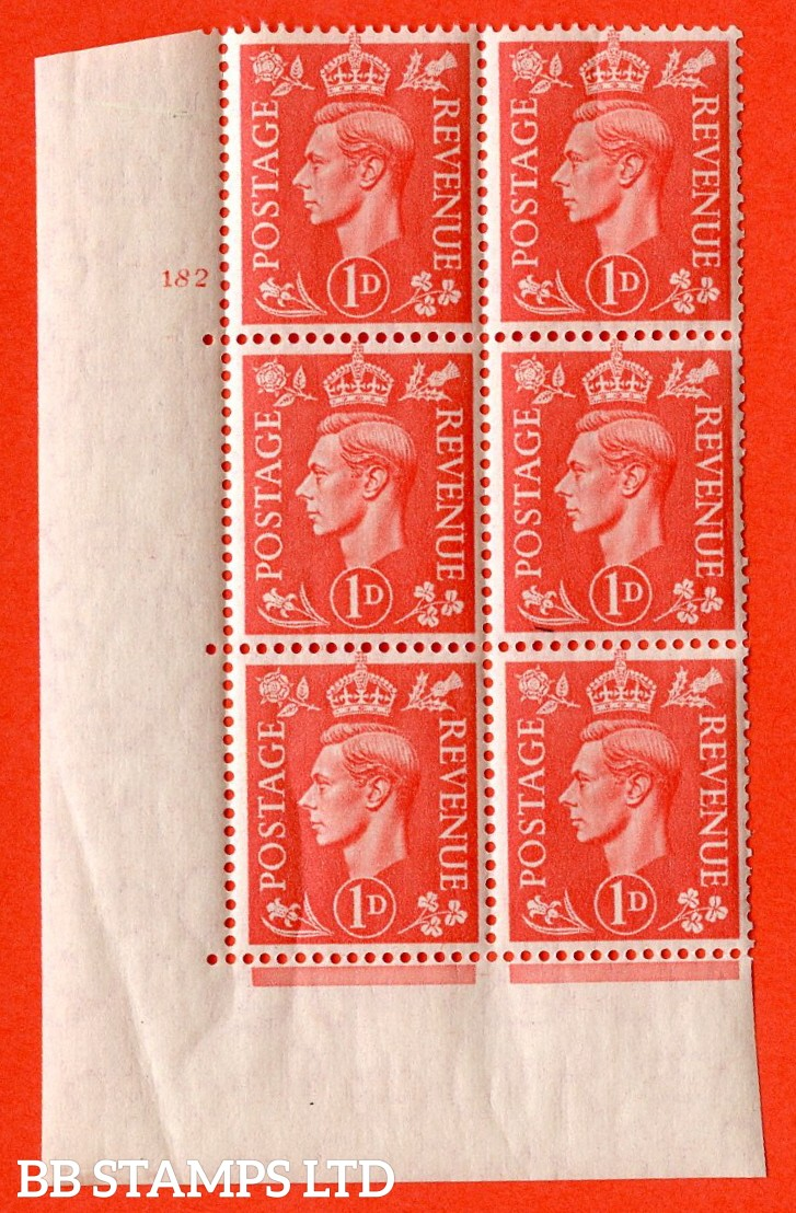 "SG. 486. Q5A. 1d Pale scarlet. A superb UNMOUNTED MINT "" No Control  cylinder 182 dot "" control block of 6 with perf type 5 E/I. Creased"