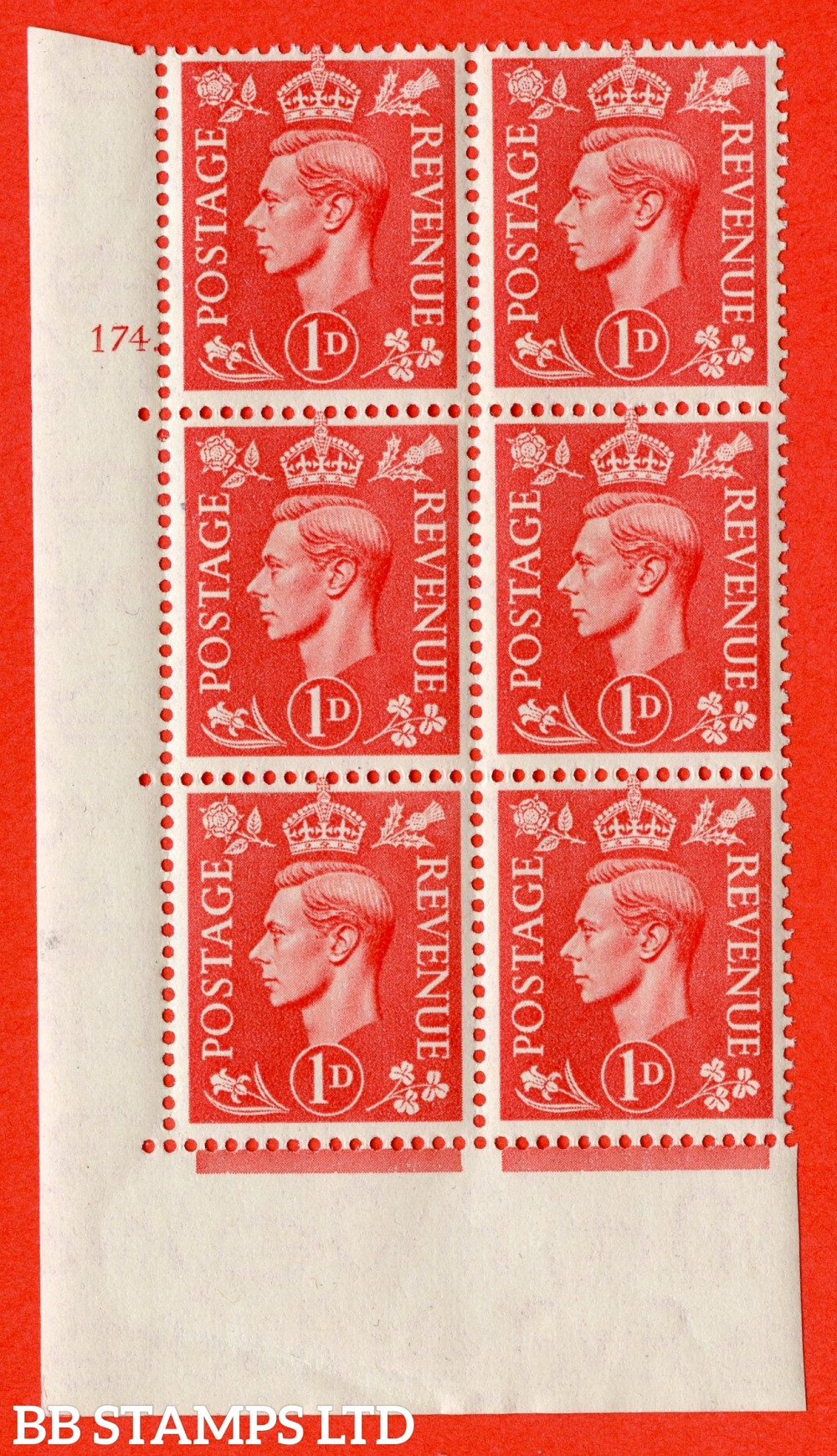 "SG. 486. Q5. 1d Pale scarlet. A superb UNMOUNTED MINT ""  No Control cylinder 174 dot "" control block of 6 with perf type 5 E/I."