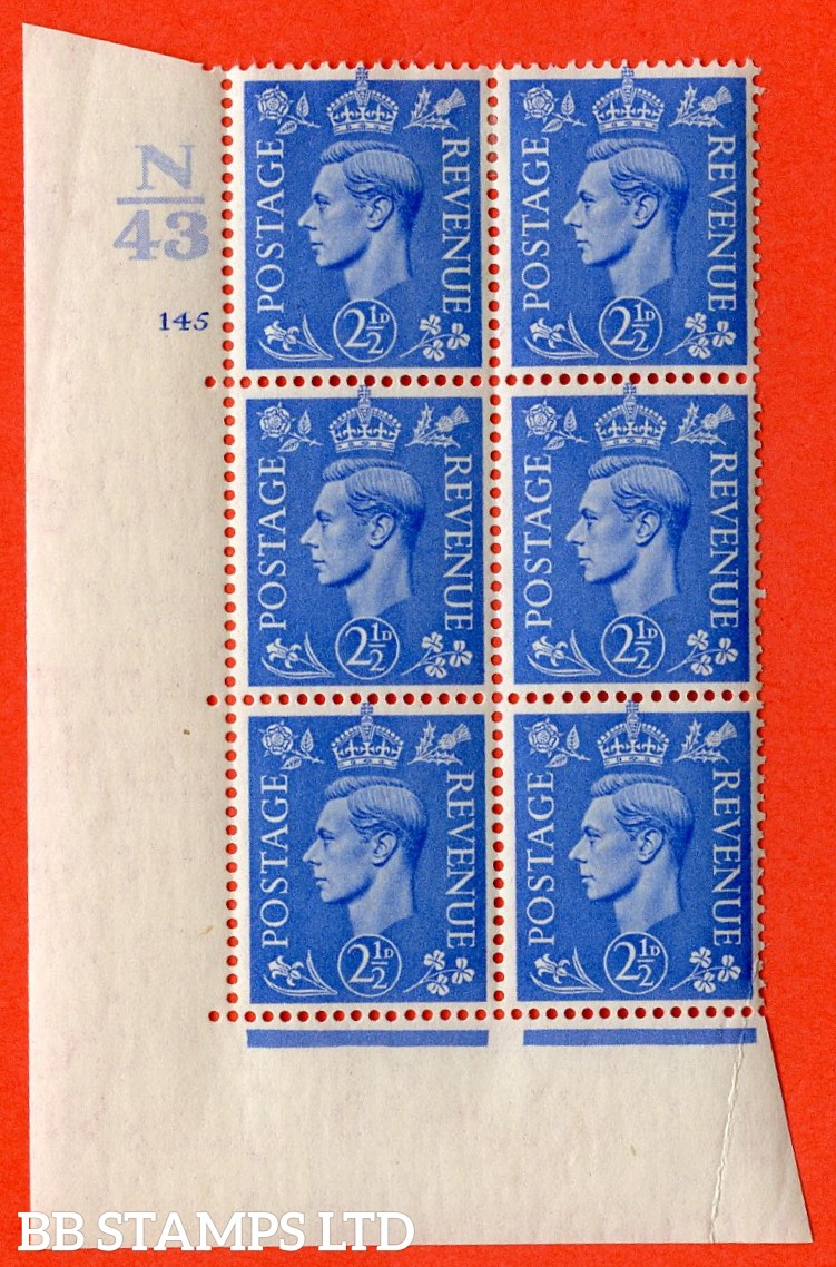 """SG. 489. Q14. 2½d Light ultramarine. A very fine lightly mounted mint """"  Control N43 cylinder 145 no dot """" control block of 6 with perf type 5 E/I."""