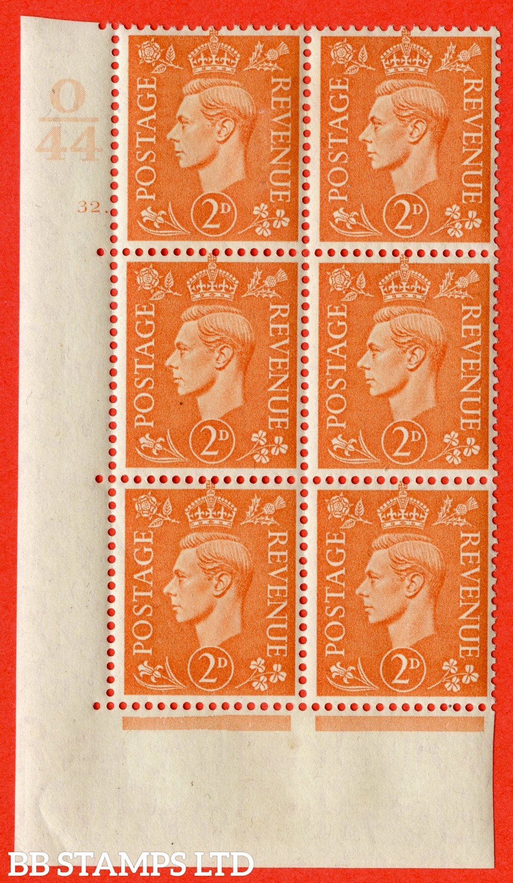 "SG. 488. Q11. 2d Pale Orange. A fine ligthtly mounted mint "" Control O44 cylinder 32 dot "" control block of 6 with perf type 5 E/I."
