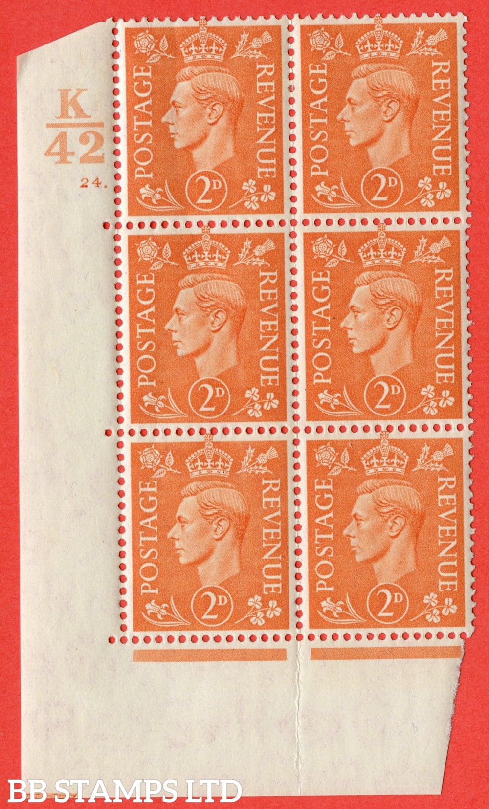 "SG. 488. Q11. 2d Pale Orange. A fine lightly mounted mint. "" Control K42 cylinder 24 no dot "" control block of 6 with perf type 5 E/I."