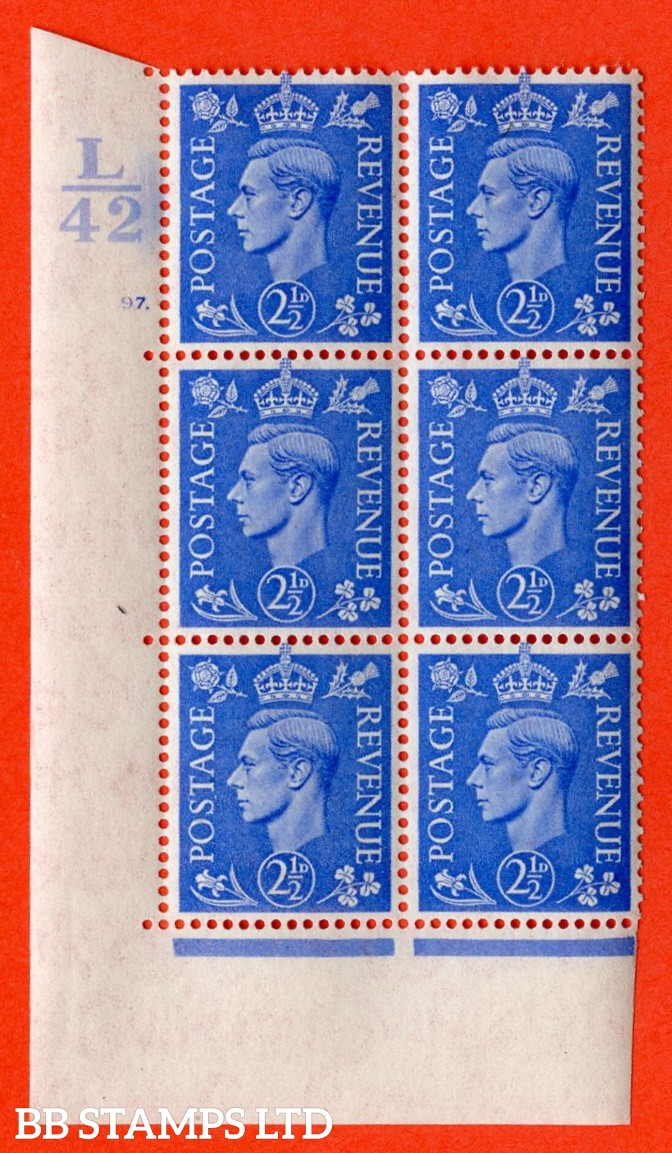 """SG. 489. Q14. 2½d Light ultramarine. A superb UNMOUNTED MINT """" Control L42 cylinder 97 dot """" control block of 6 with perf type 5 E/I."""