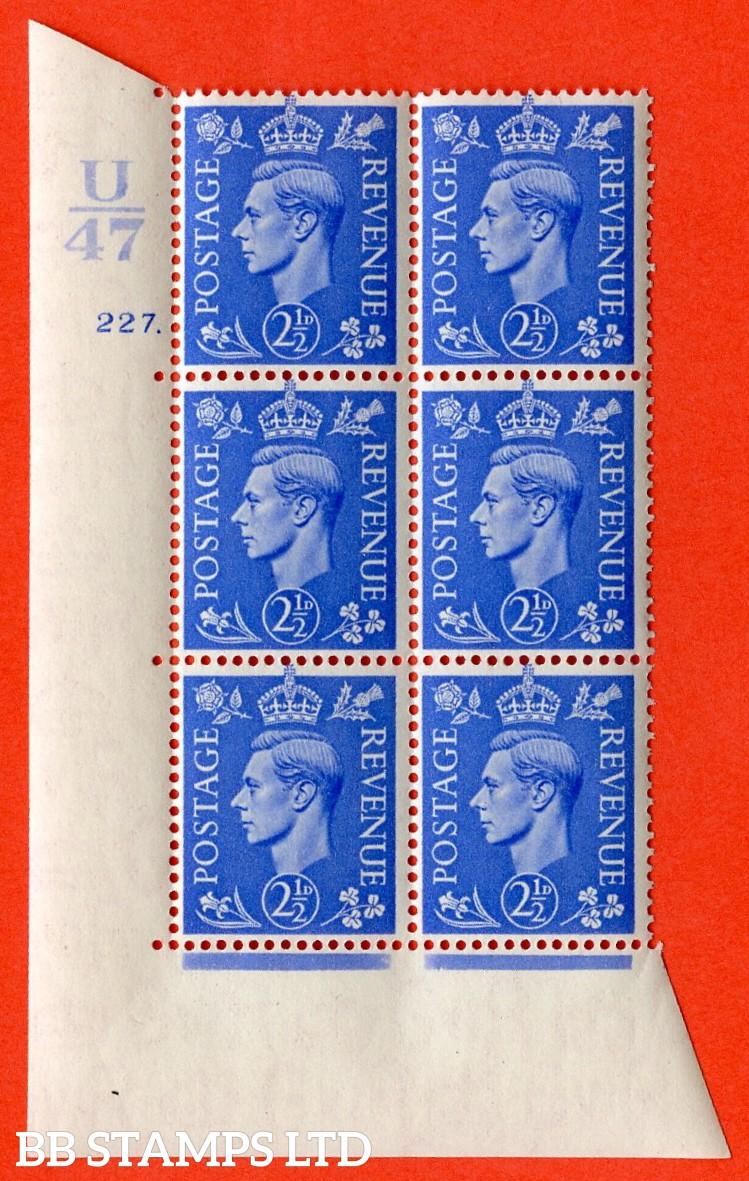 "SG. 489. Q14. 2½d Light ultramarine. A superb UNMOUNTED MINT ""  Control U47 cylinder 227 dot "" control block of 6 with perf type 5 E/I."