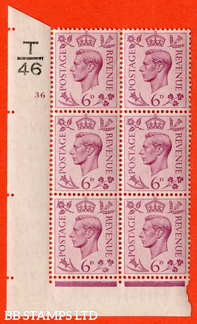 """SG. 470. Q22. 6d Purple. A very fine lightly mounted mint """" Control T46 cylinder 36 no dot """" control block of 6 with perf type 2 I/E."""