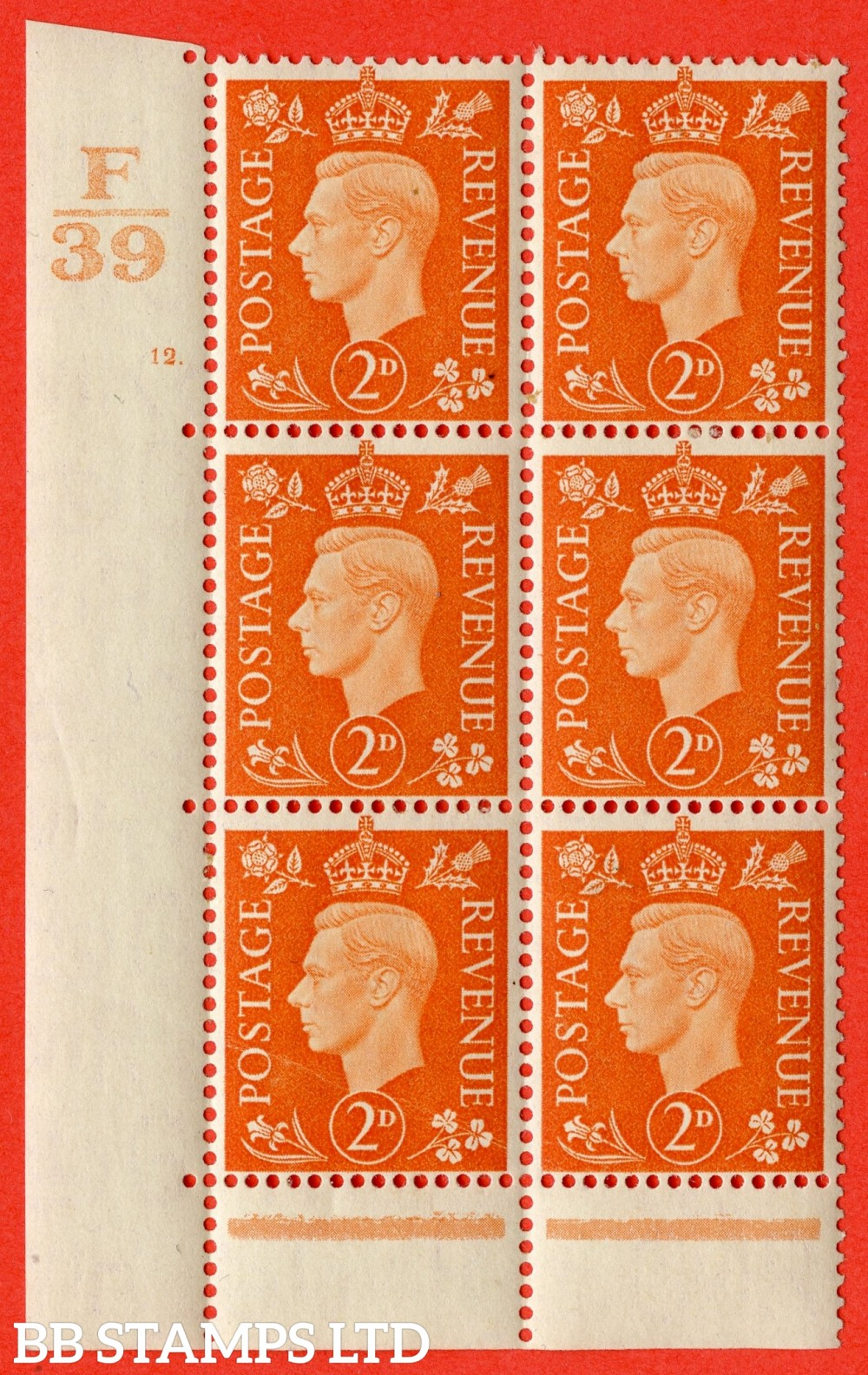 "SG. 465. Q10. 2d Orange. A very fine lightly mounted mint "" Control F39 cylinder 12 dot "" control block of 6 with perf type 6B E/P."