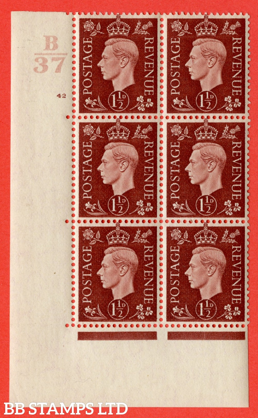 """SG. 464. Q7. 1½d Red-Brown. A fine lightly mounted mint """" Control B37 cylinder 42 no dot """" control block of 6 with perf type 5 E/I. with marginal rule."""