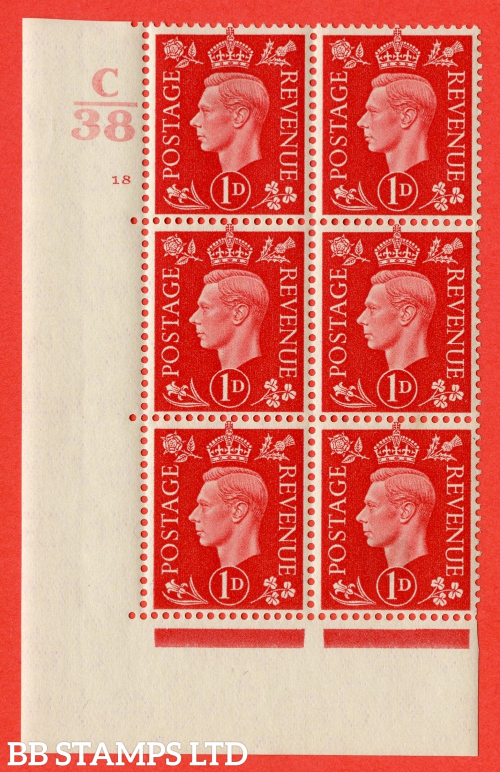 "SG. 463. Q4. 1d Scarlet. A very fine lightly mounted mint "" Control C38 cylinder 18 no dot "" block of 6 with perf type 5 E/I with marginal rule."