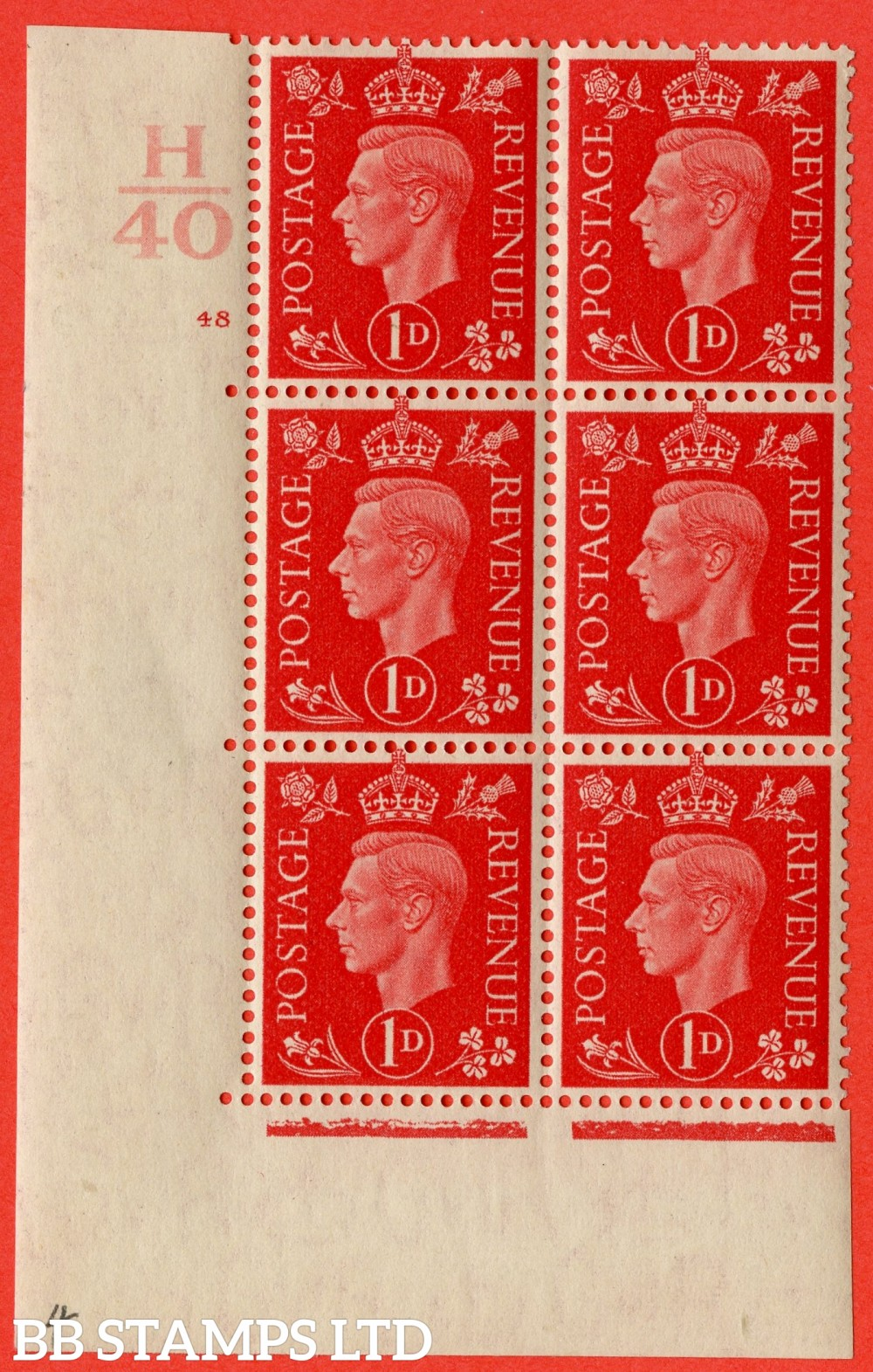 "SG. 463. Q4. 1d Scarlet. A very fine lightly mounted mint "" Control H40 cylinder 48 no dot "" block of 6 with perf type 5 E/I with marginal rule."