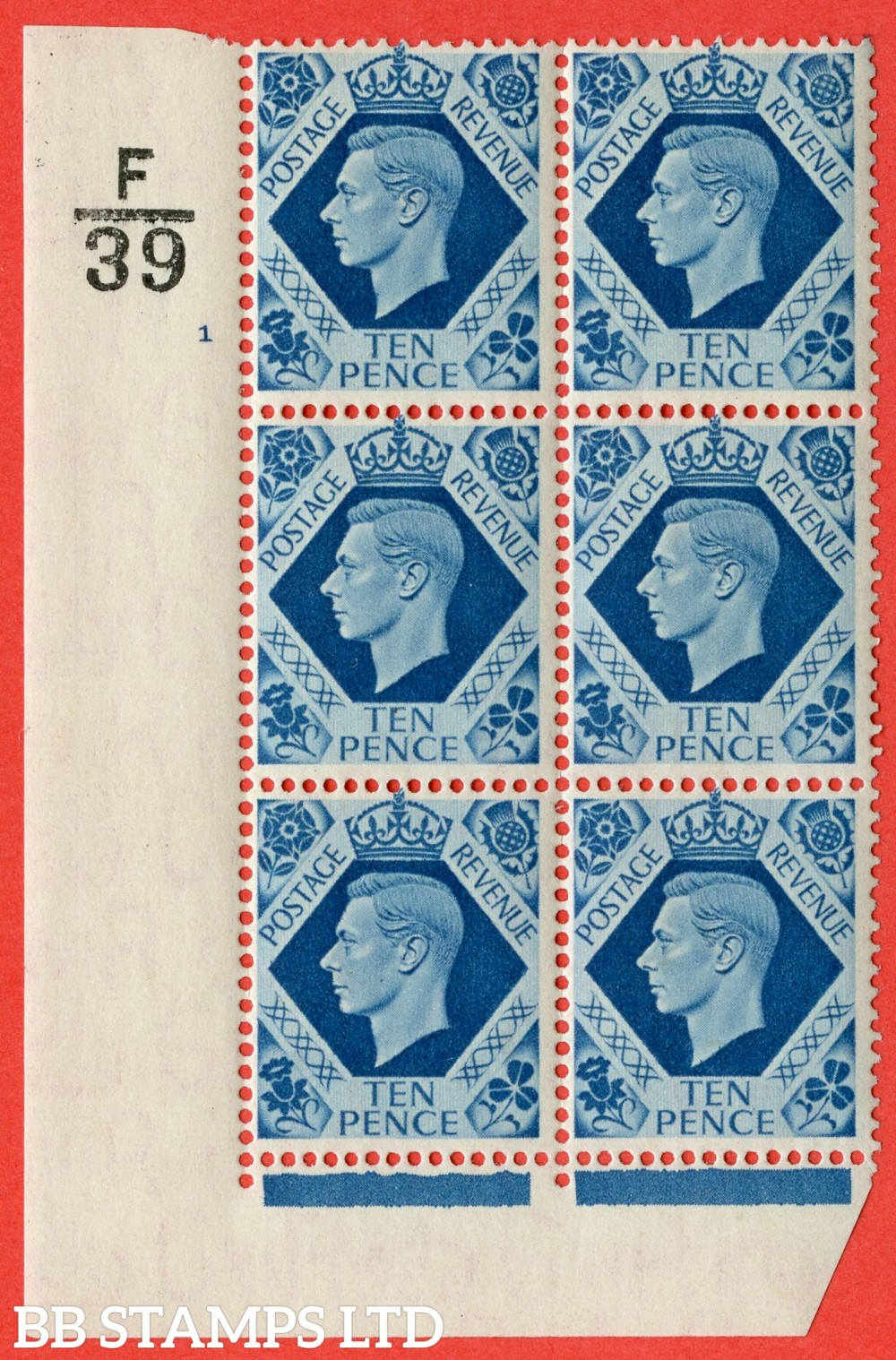 "SG. 474. Q26. 10d Turquoise-Blue. A fine mounted mint "" Control  F39 cylinder 1 no dot "" control block of 6 with perf type 2 I/E."