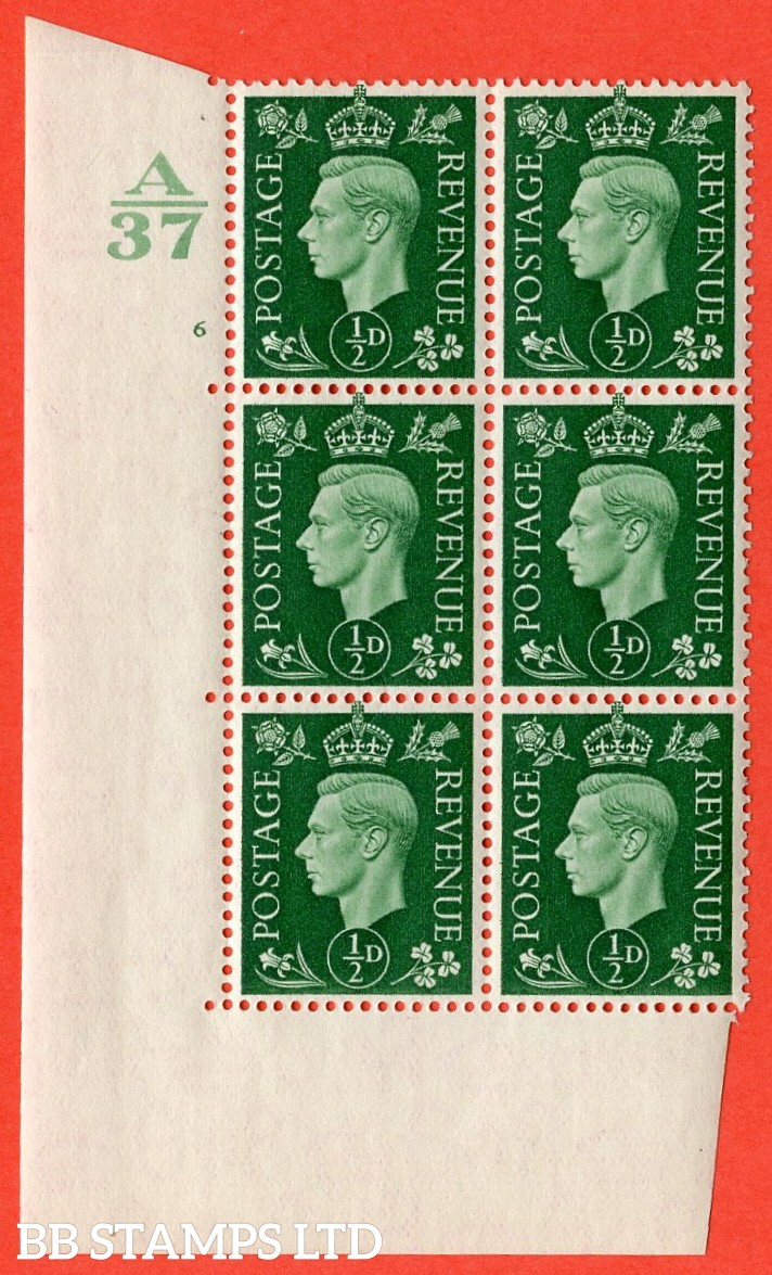 "SG. 462. Q1. ½d Green. A superb UNMOUNTED MINT"" Control A37 cylinder 6 no dot "" block of 6 with perf type 5 E/I without marginal rule."