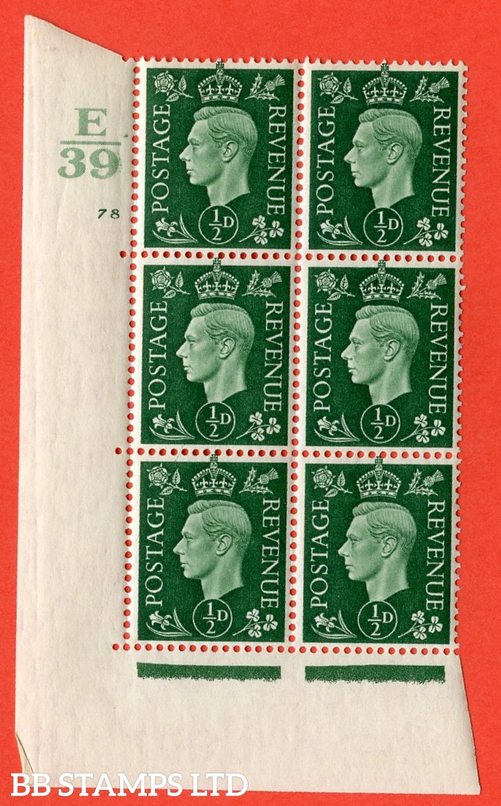 "SG. 462. Q1. ½d Green. A superb UNMOUNTED MINT"" Control E39 cylinder 78 no dot "" block of 6 with perf type 5 E/I with marginal rule."